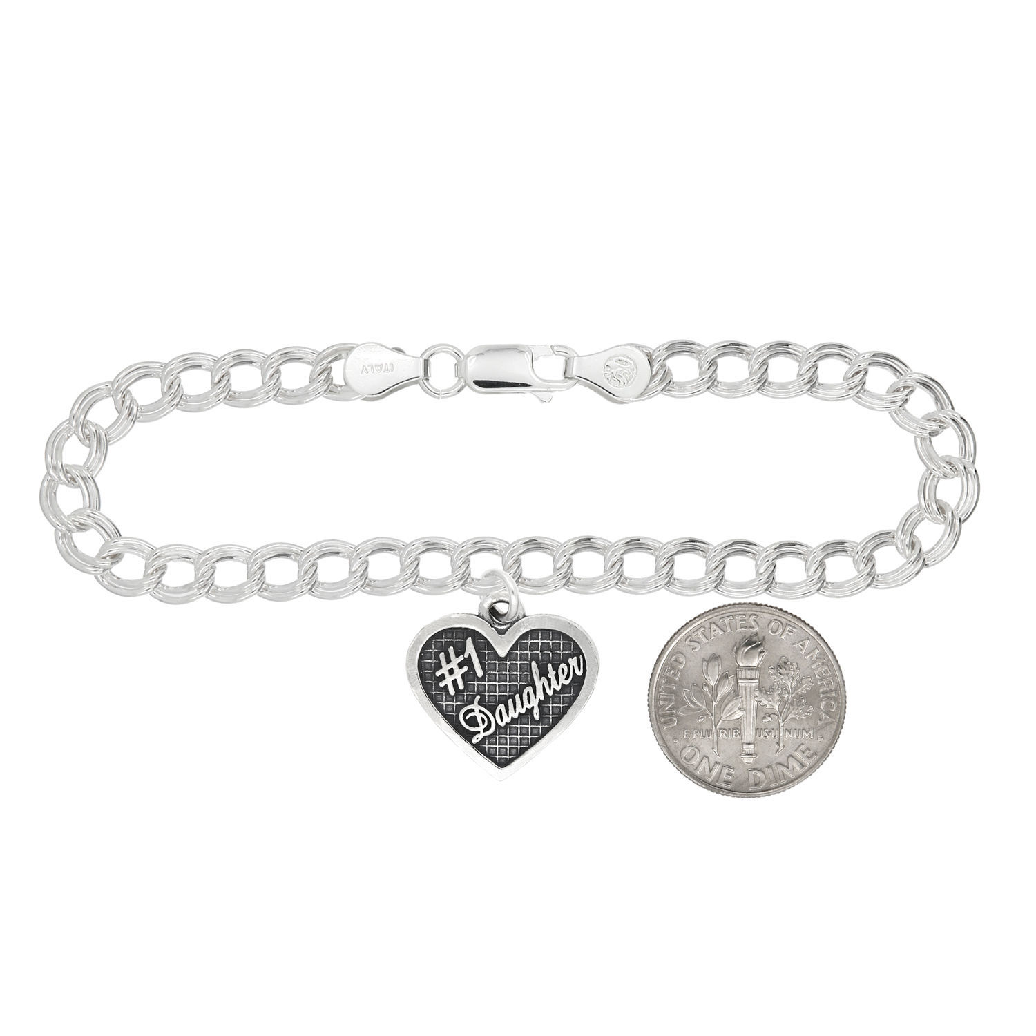 Sterling Silver Oxidized Textured #1 Daughter Charm w/ Polished Charm Bracelet