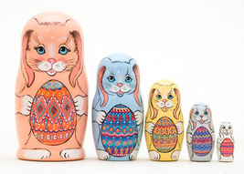 "Easter Bunnies with Eggs Nesting Doll - 5"" w/ 5 Pieces - $30.00"