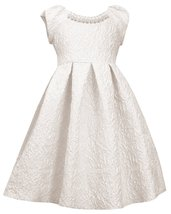 Little Girl 2T-6X Ivory Silver Metallic Brocade Pearl Neckline Fit Flare Dress