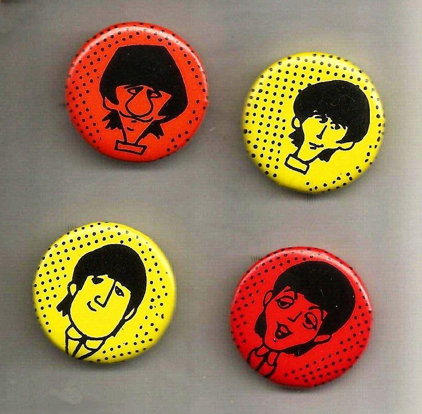 Beatles Cartoon Button Pin Set Beatlemania 1980s