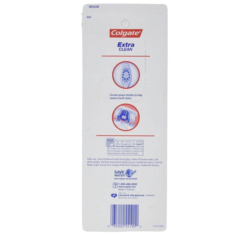 Colgate Extra Clean Full Head Medium 441 Toothbrush Circular Bristles, 4 count