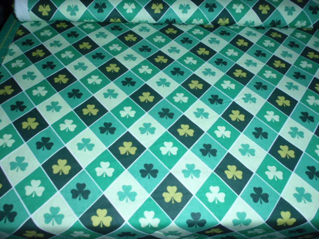 "Shamrock St Patrick's Day Fabric 100% Cotton Quilting Fabric  44"" Wide BTHY"