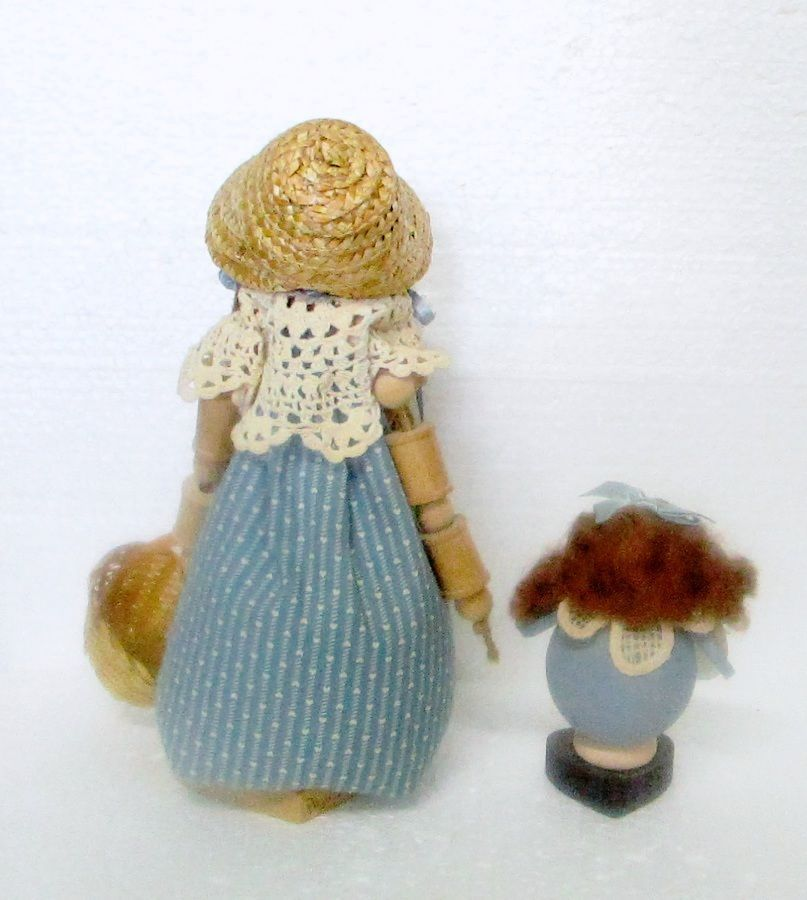 "Pair Wooden & Cloth Shelf Dolls Crochet Trim Primitive Shabby Chic Look 9 1/2"""