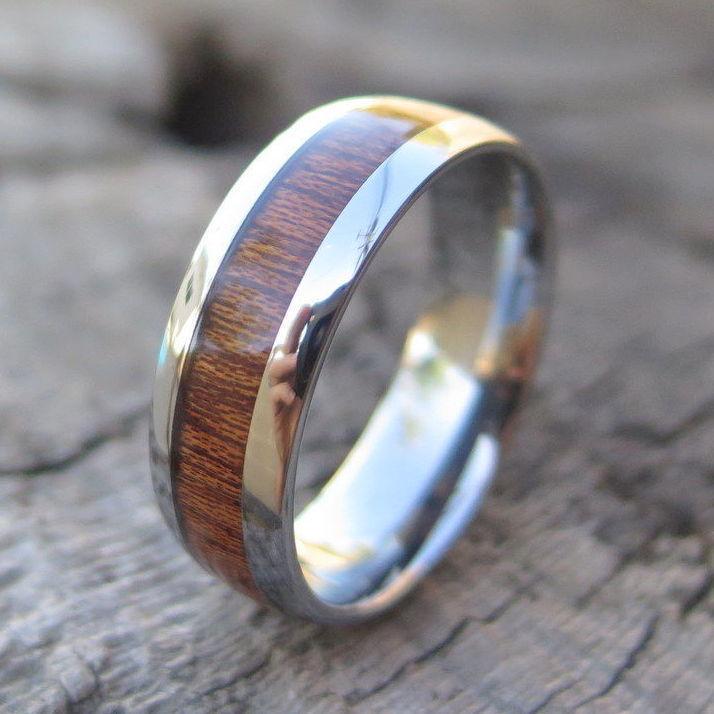 Mens Genuine Hawaiian Koa Wood Tungsten Wedding Ring Band 8mm Sizes #CJTU