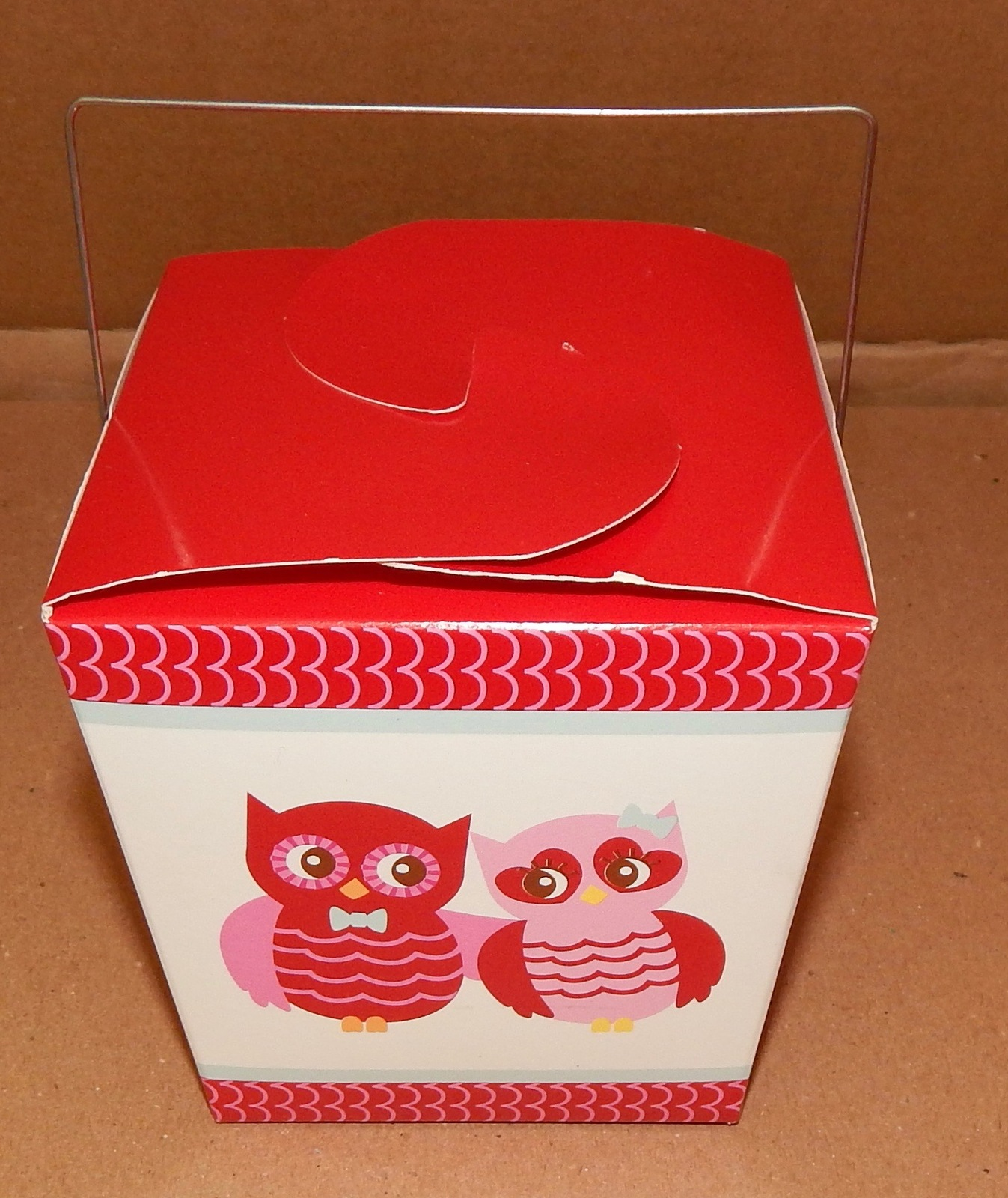 "Valentine Party Takeout Boxes Celebrate It 4"" x 4"" x 4"" Owls 9 Total Boxes 101K"