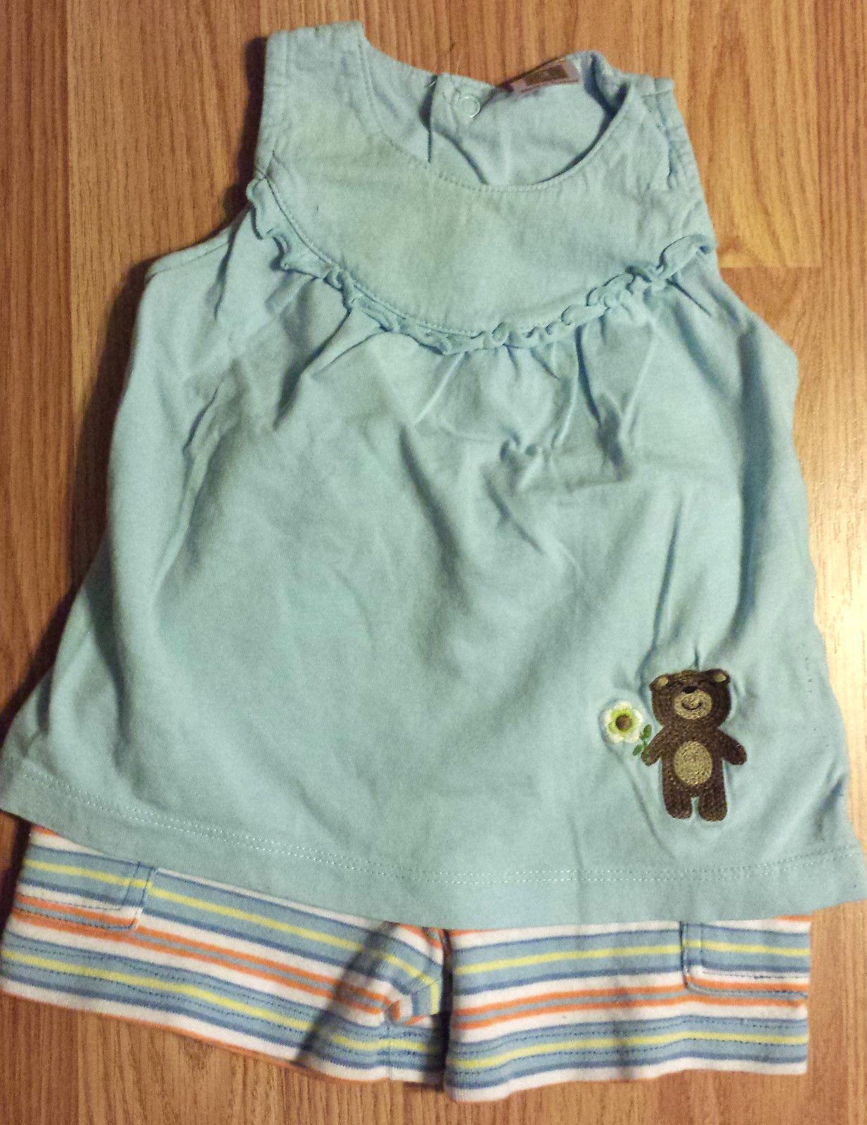 Girl's Size 0-3 M Months 3 Pc Blue Bear W/ Flower Carter's Top, TCP Shorts & Cap