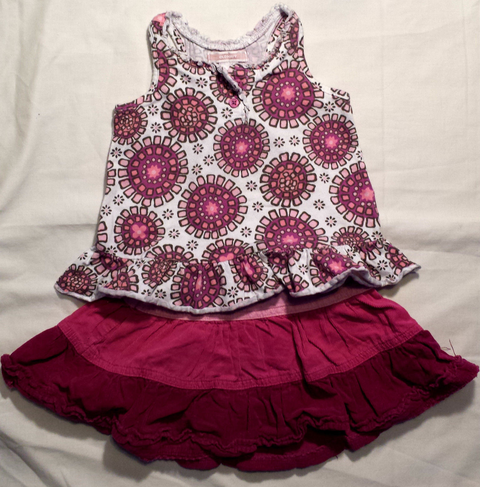 Girl's Size 24 M 18-24 Months White Floral Old Navy Top, Pink Corduroy TCP Skirt