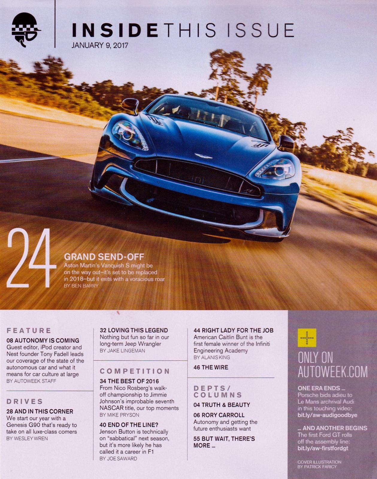 Autoweek January 9 2017 NEW, no label. Aston Martin's Vanquish S, Genesis G90