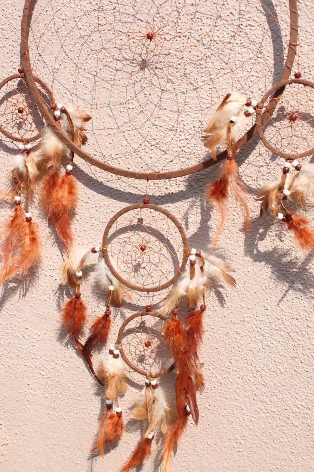 Large Brown Dream Catcher Handmade w/ Leather & Feather Home Car Wall Decor