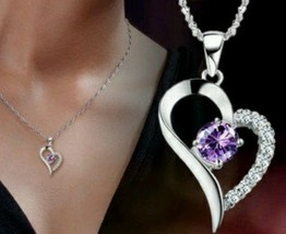 925 Sterling Silver Amethyst Diamond Heart Necklace Pendant RETAIL $20 - $12.99