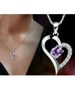 925 Sterling Silver Amethyst Diamond Heart Necklace Pendant RETAIL $20 - $12.99