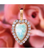 Necklace Opal & Lab Created Diamond Heart Gold Layered NEW Great Gift! - $59.00