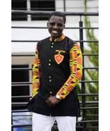 Kente & Black Cotton Men's Long Sleeve Shirt African Clothing Men's Wear  - $54.95