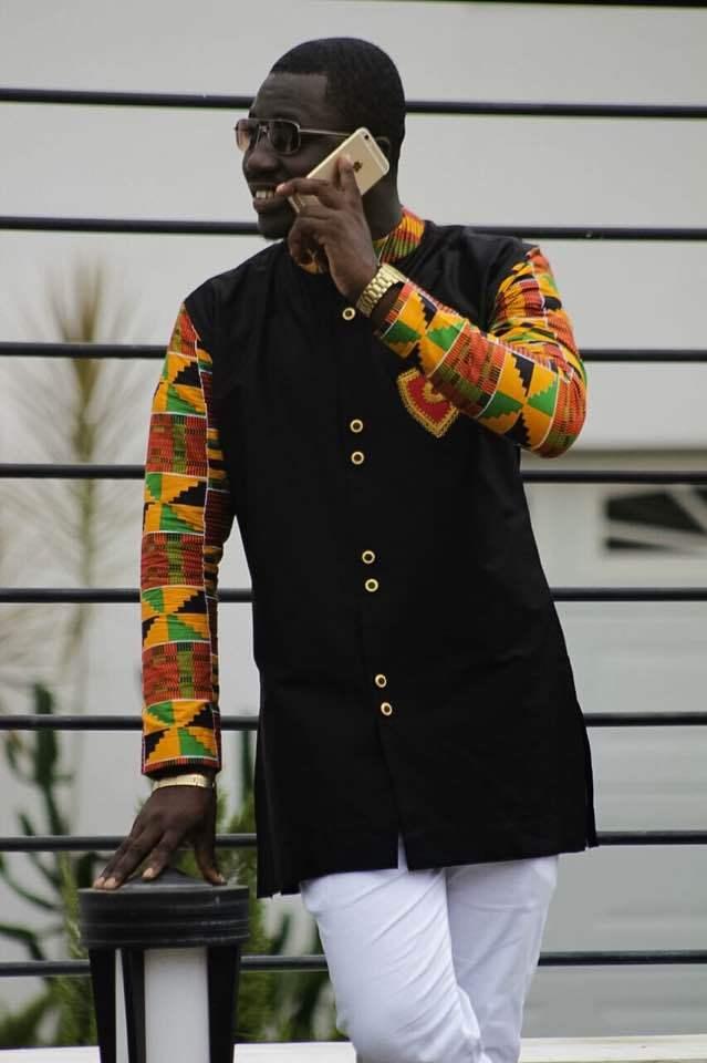 Kente & Black Cotton Men's Long Sleeve Shirt African Clothing Men's Wear