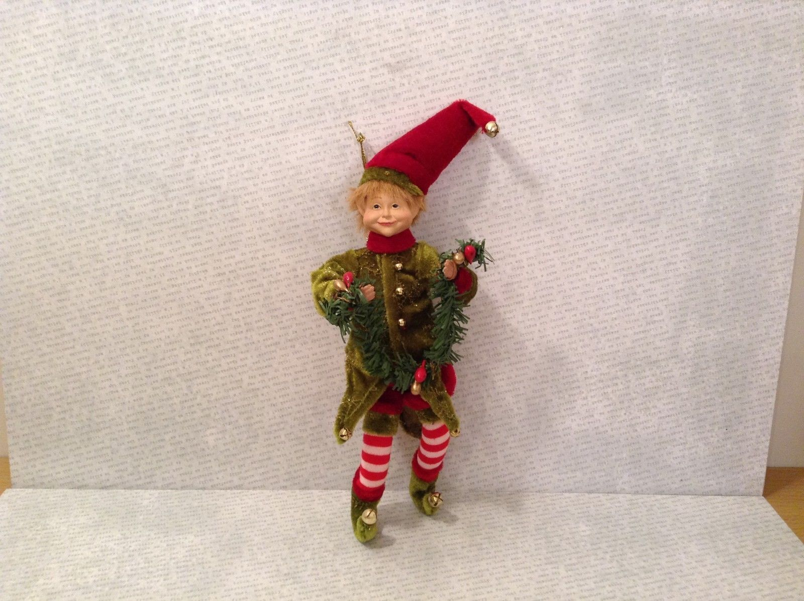 Charming detailed elf red green w pine green garland and bells ornament posable