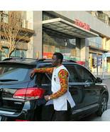 Kente & White Cotton Men's Long Sleeve Shirt Men's African Clothing Men'... - $55.00