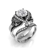 Skull Engagement Ring in Solid 10 k White Moiss... - $1,595.00