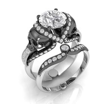 Skull Engagement Ring in Solid 18 k White Moiss... - $3,995.00