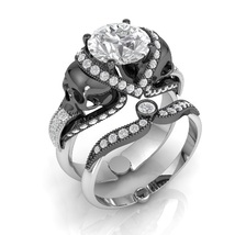 Skull Engagement Ring in Solid 14 k White Moiss... - $1,995.00