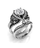 Skull Engagement Ring in Solid 14 k White Moiss... - $1,995.00