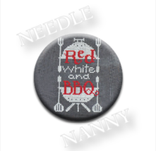 Red White & BBQ Needle Nanny needle minder cross stitch Hands On Design - $12.00