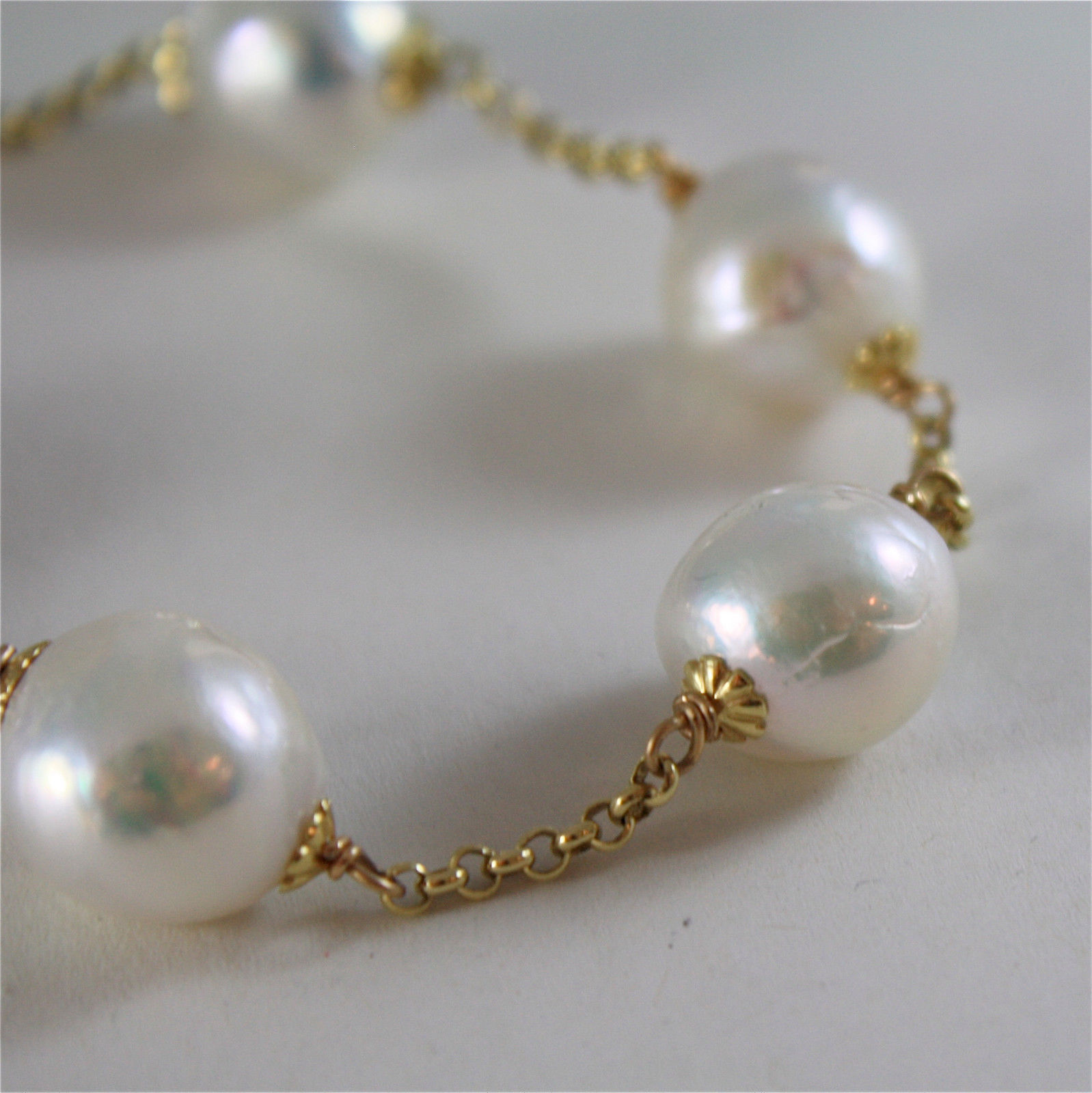 18K YELLOW GOLD BRACELET WITH VERY SHINY BAROQUE PEARLS 8.25 IN MADE IN ITALY