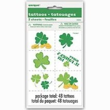 Happy St Patrick's Day 12 Temporary Tattoos Clover Shamrock Gold - €1,70 EUR