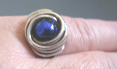 Sterling Silver Heavy Wire Wrap RING Cobalt Blue Dichroaic Glass Bead Size 11.5
