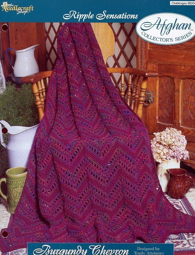 Burgundy Chevron Afghan TNS Ripple Sensations Crochet Pattern Leaflet NEW