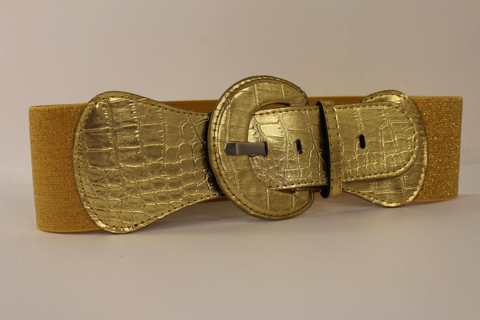 New Women Fashion Belt Metallic Gold Elastic Band Hip / High Waist Stretch Wide