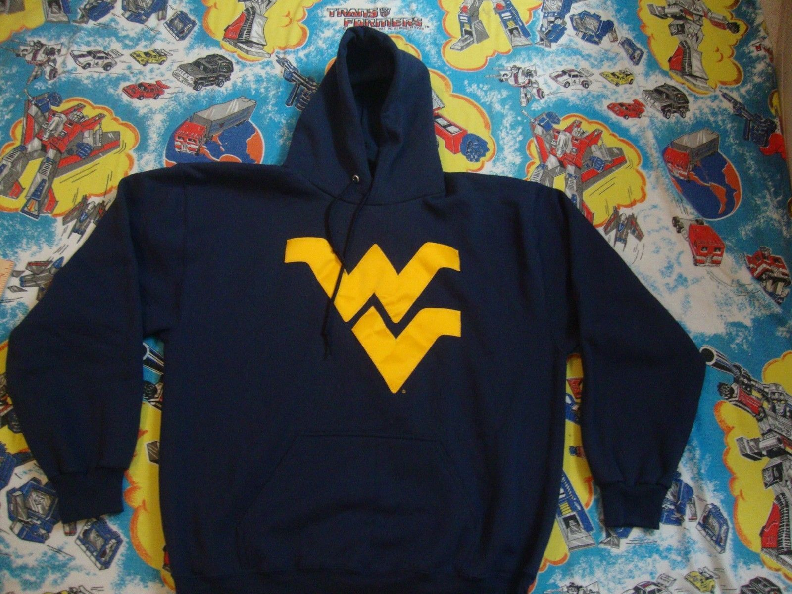 NCAA West Virginia Mountaineers Blue Sewn Logo Hoodie Sweatshirt Adult size L