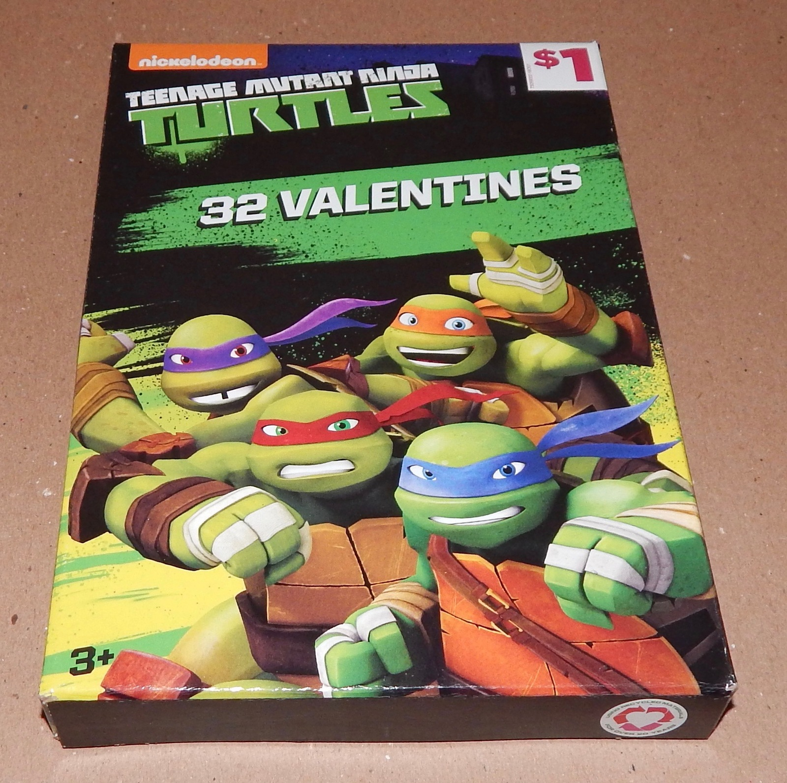 Valentines 32 Cards 8 Designs Heart Stickers Teenage Mutant Ninja Turtles 101N