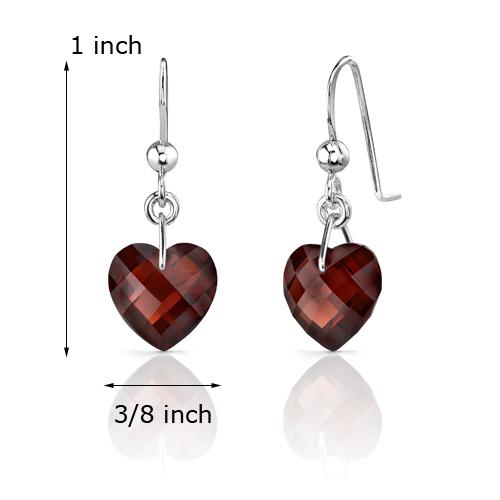 Sterling Silver 9 Carats Garnet Heart Shape Earrings
