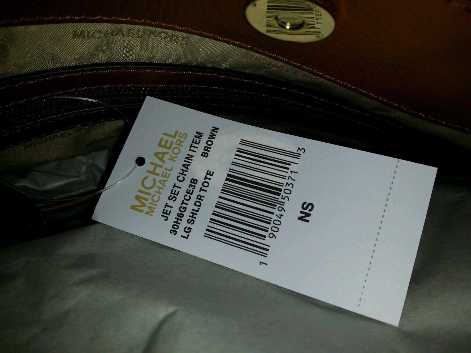 NWT MICHAEL KORS Jet Set Chain Large PVC Leather Shoulder Tote Bag Brown $298
