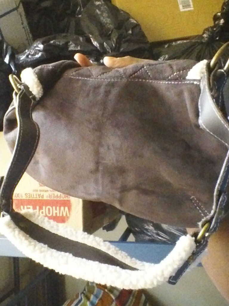 OLD NAVY ONE SIZE PURSE BROWN SUEDE and fake WHITE trim