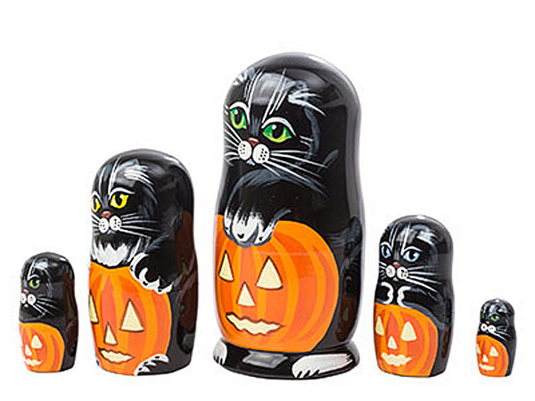 "Halloween Cat Nesting Doll - 5"" w/ 5 Pieces"