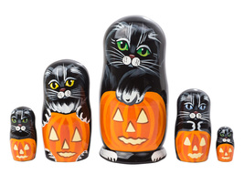 "Halloween Cat Nesting Doll - 5"" w/ 5 Pieces - £25.90 GBP"
