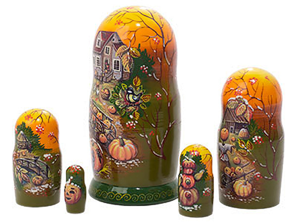 "Frost on the Pumpkin Nesting Doll - 5"" w/ 5 Pieces"