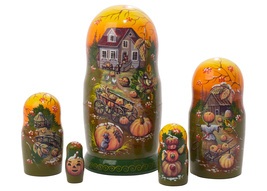 "Frost on the Pumpkin Nesting Doll - 5"" w/ 5 Pieces - $38.00"