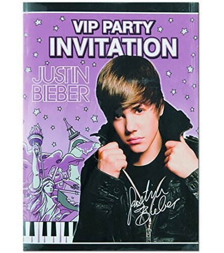 Justin Bieber Party Invitations 8/Pack-2Pack