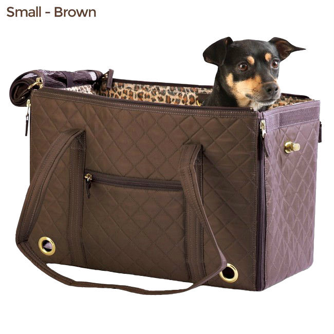 Brown Quilted Sherpa 55102 Park Quilted Carrier Tote & Blanket Pets Up to 6 lb