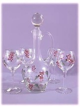 Hand painted glass five piece wine set - $35.95