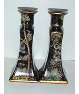 Grape leaf design black stoneware, earthenware candlesticks - $12.95