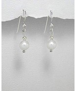 STERLING SILVER AND FRESHWATER HOOK /DANGLE WHITE PEARL EARRINGS - $21.95