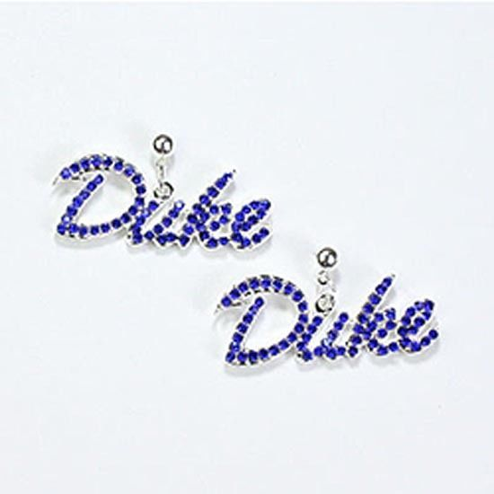 Duke Blue Devils Silver Plated and Crystal Earrings