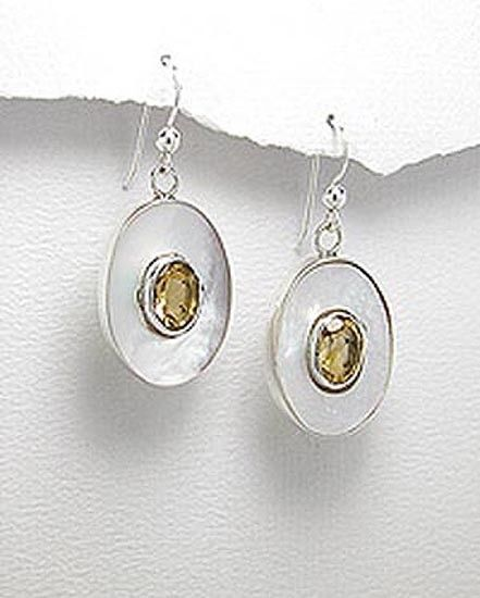 MOTHER OF PEARL (NACRE) & STERLING SILVER DANGLE EARRINGS