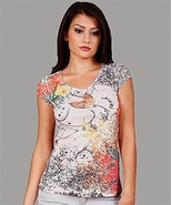 WOMEN'S COTTON, VISCOSE, CAP SLEEVE, ANIMAL EMBELLISHED BUTTERFLY CASUAL... - $14.95