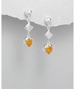STERLING SILVER AND CUBIC ZIRCONIA POST EARRINGS - $21.95