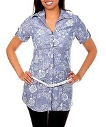 WOMEN'S NATALI SHORT SLEEVE BLUES  FLORAL PRINT CASUAL DENIM BLOUSE WITH... - $14.95