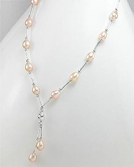 "STERLING SILVER AND NATURAL PEACH PEARL STRAND, STRING, ADJUSTABLE 16"" NECKLACE"